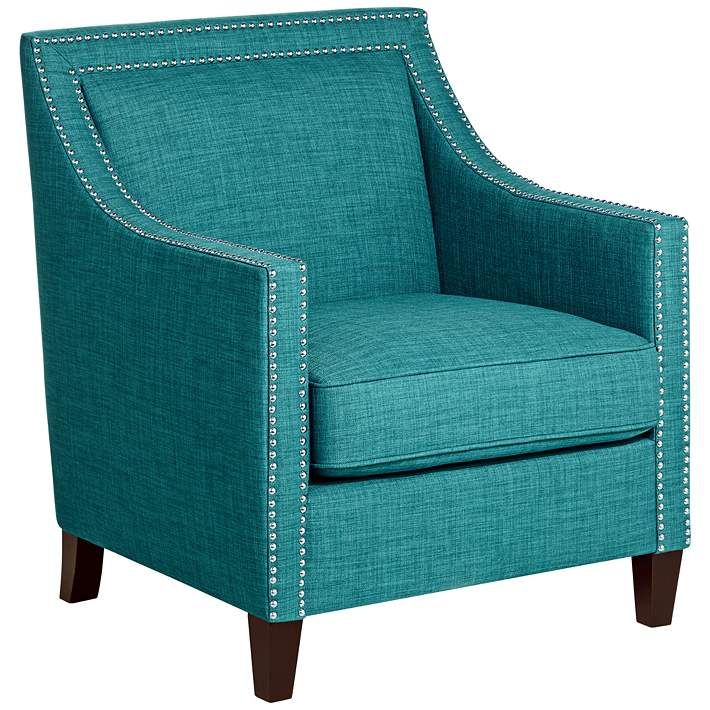 Flynn Teal Upholstered Armchair 4y556 Lamps Plus In 2020 Accent Chairs Upholstered Arm Chair Teal Chair #teal #chairs #for #living #room