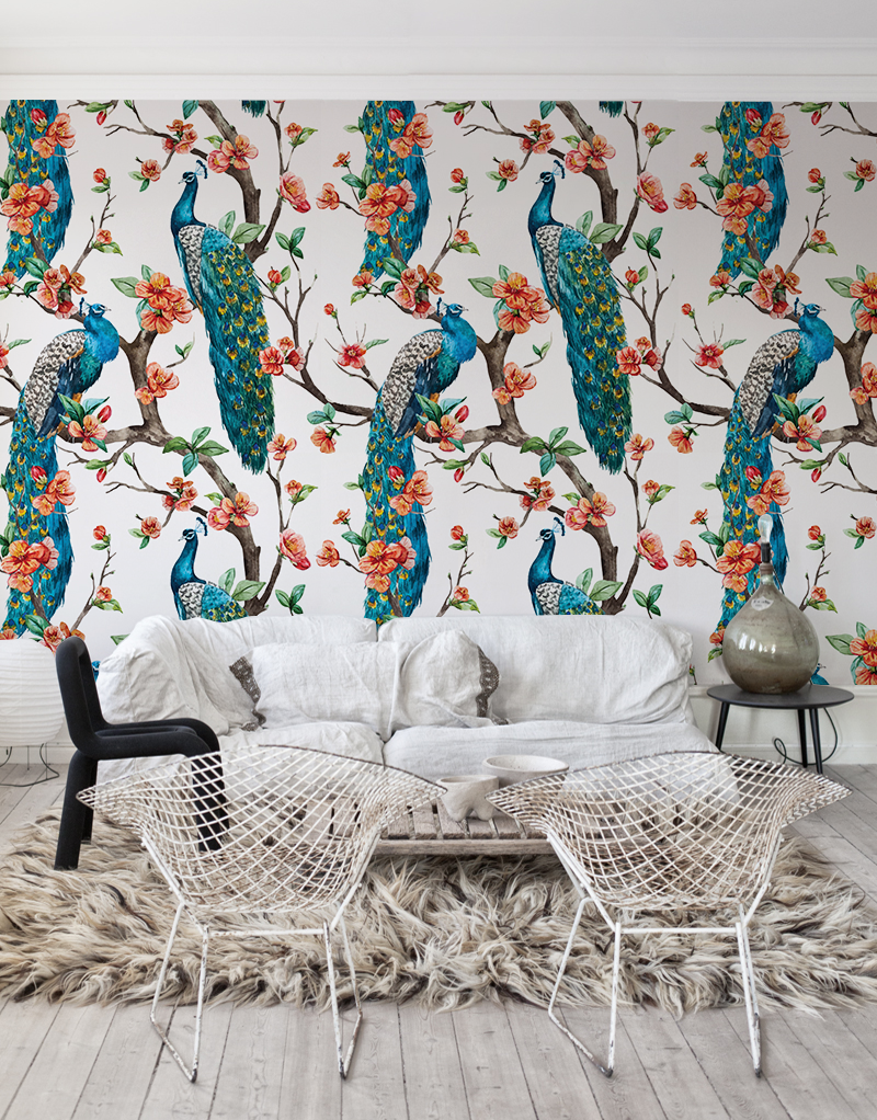 Colorful Peacocks Removable Wallpaper Floral And Nature Inspired Design Flowers And Peacocks Look Peacock Wallpaper Mural Wallpaper Interior Design Drawings