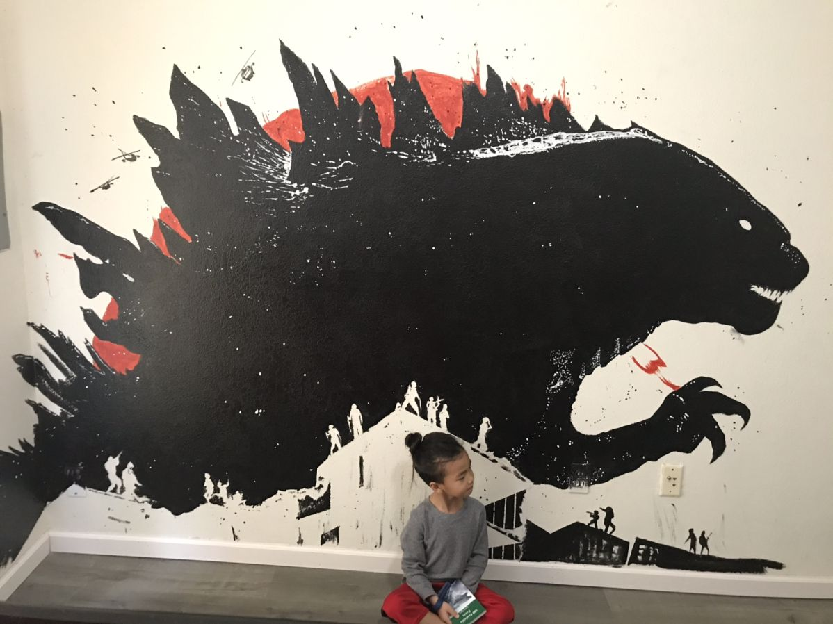 Lucas wanted a Godzilla in his room. Wall murals, Mural