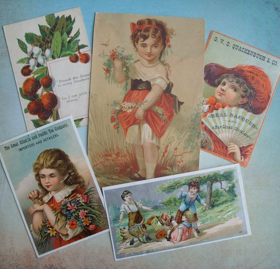 5 Antique Victorian Advertising Trade Cards by TinselandTrinkets
