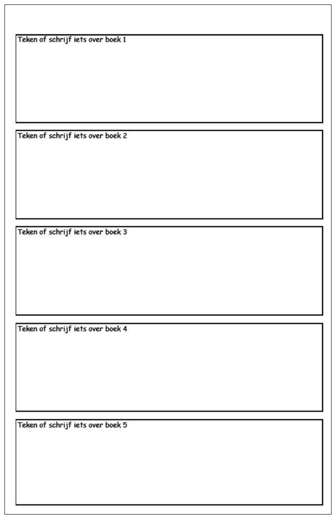 Leeskaart plus > Teken of schrijf iets over het boek. Na 5 boeken een kleine verrassing uit de bak van 5. Positief belonen helpt enorm. Sommige boeken tellen dubbel. Helpt je snel vooruit.