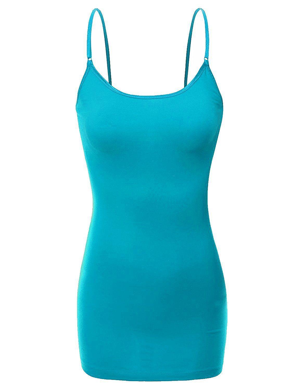 3daf2128c14 Womens Ladies Adjustable Spaghetti Strap Basic Long Cami Tunic Tank Top    Wholesale 6 pcs