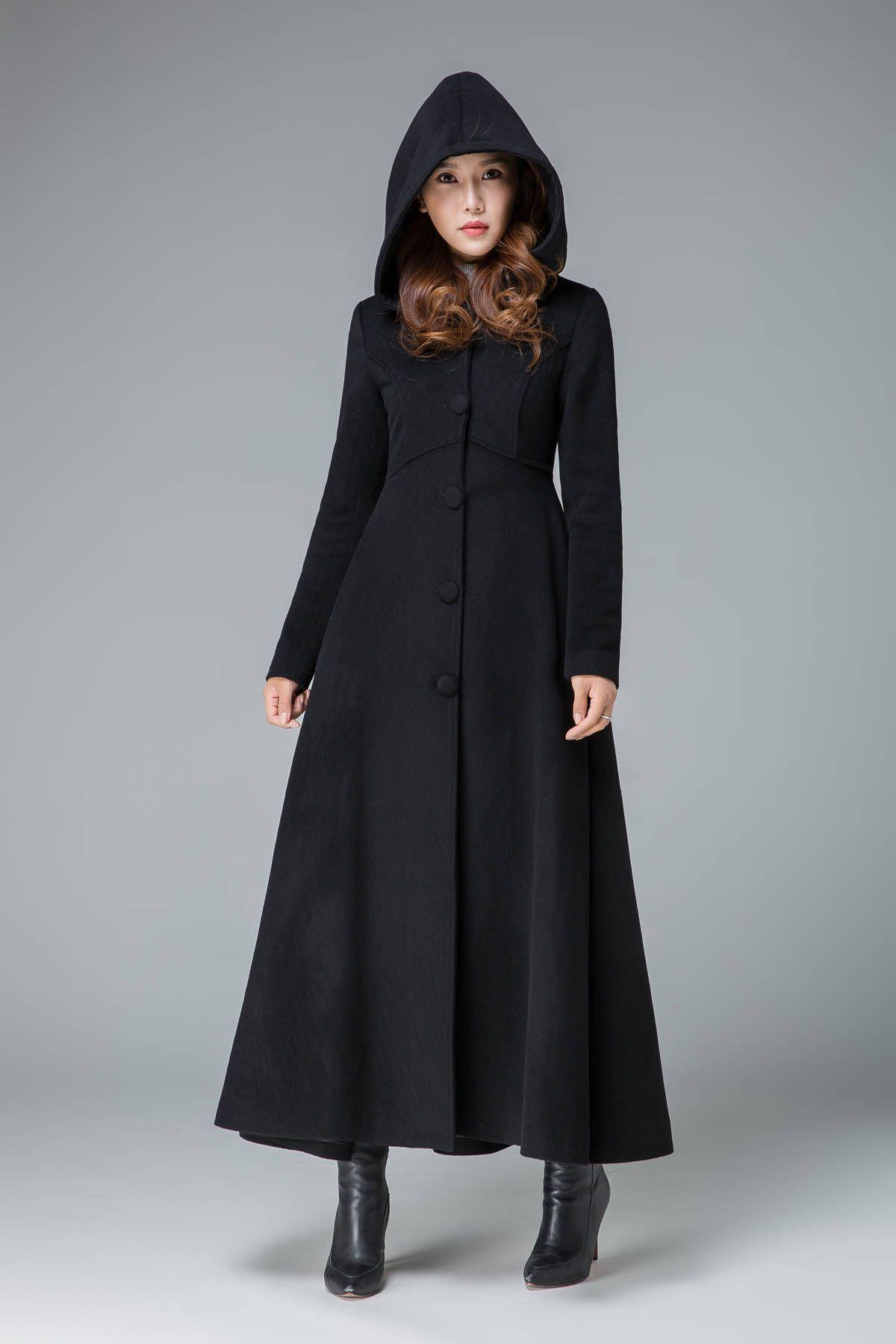 Black Wool Hooded Coat Womens, Women S Black Hooded Wool Winter Coat
