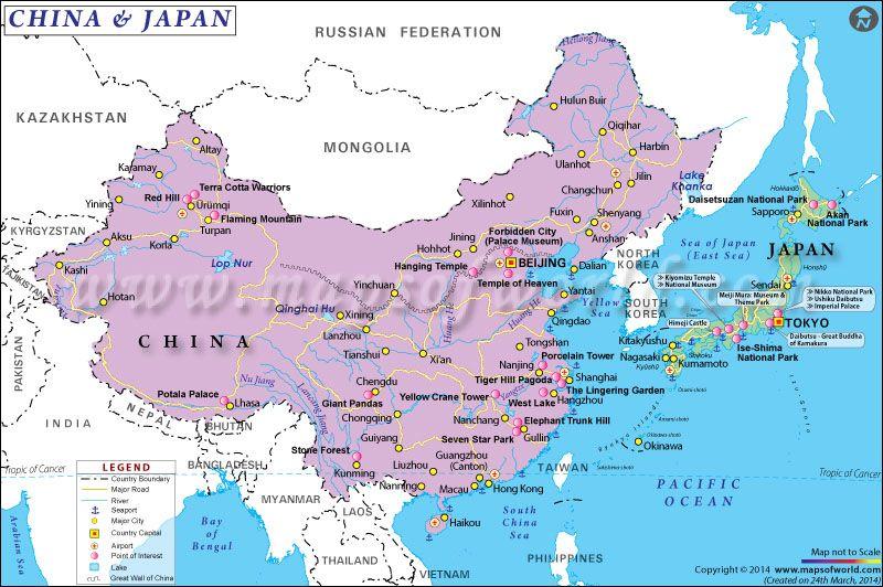 China And Japan Map Map of China and Japan | Japan map, China map, Asia map