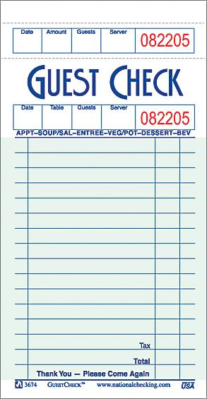 Restaurant Receipt Book 1 Restaurant Guest Check Bill Book Style