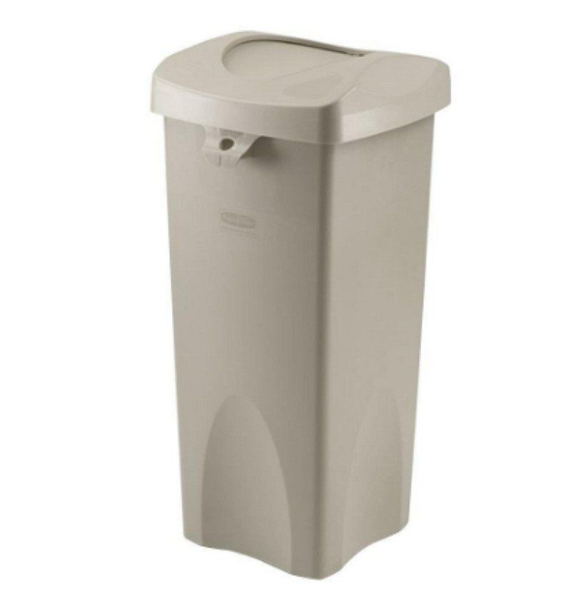 Commercial Untouchable 23 Gal Beige Square Swing Top Trash Can