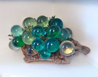 60 S Mid Century Turquoise Emerald Greens Blues Clear Lucite Glass Grapes Cluster On A Large Wooden Stump Retro Pink Kitchens Mid Century Retro Pink