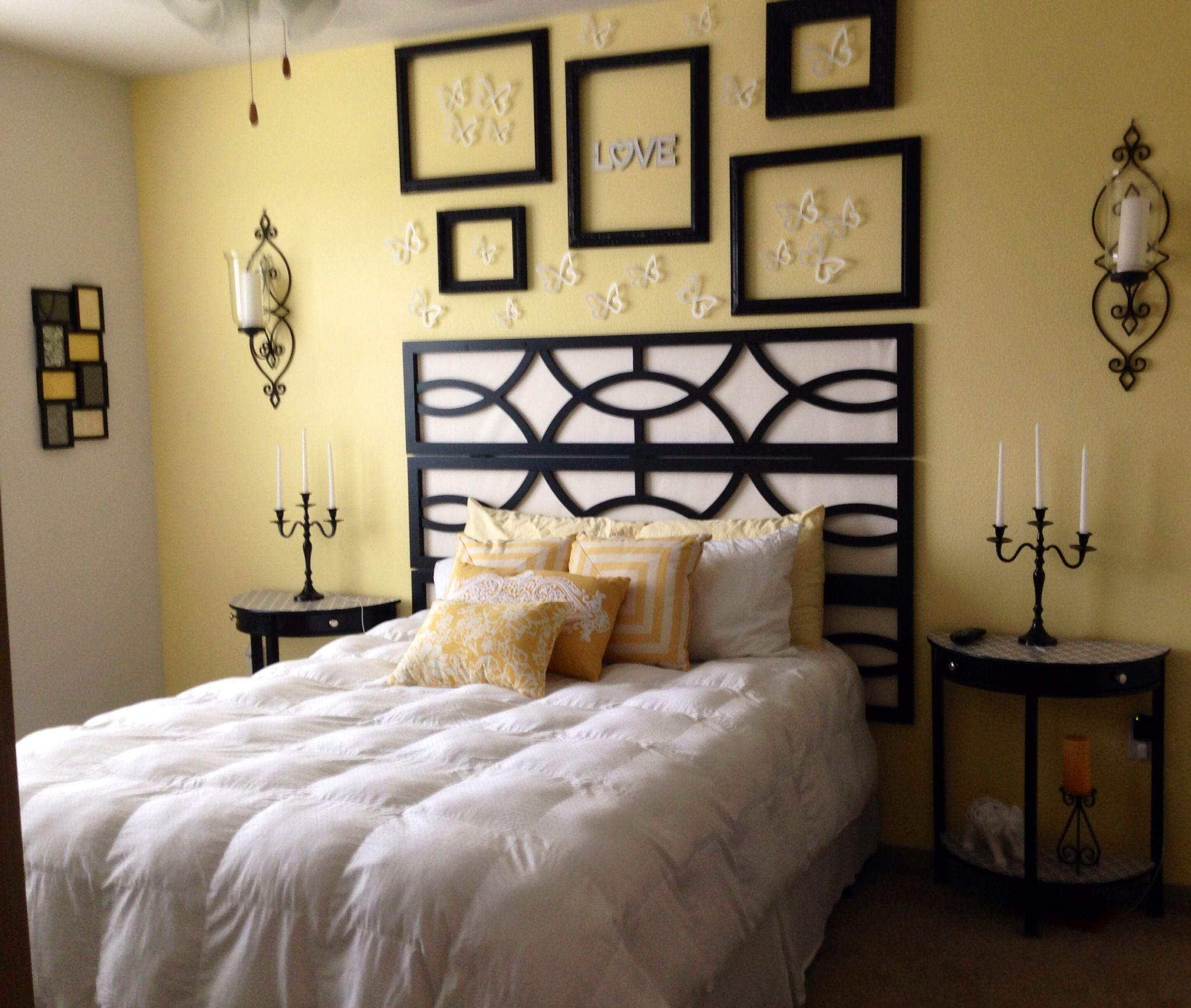 Black/white Bedroom. Pale Yellow Accent Wall. :-). Minus