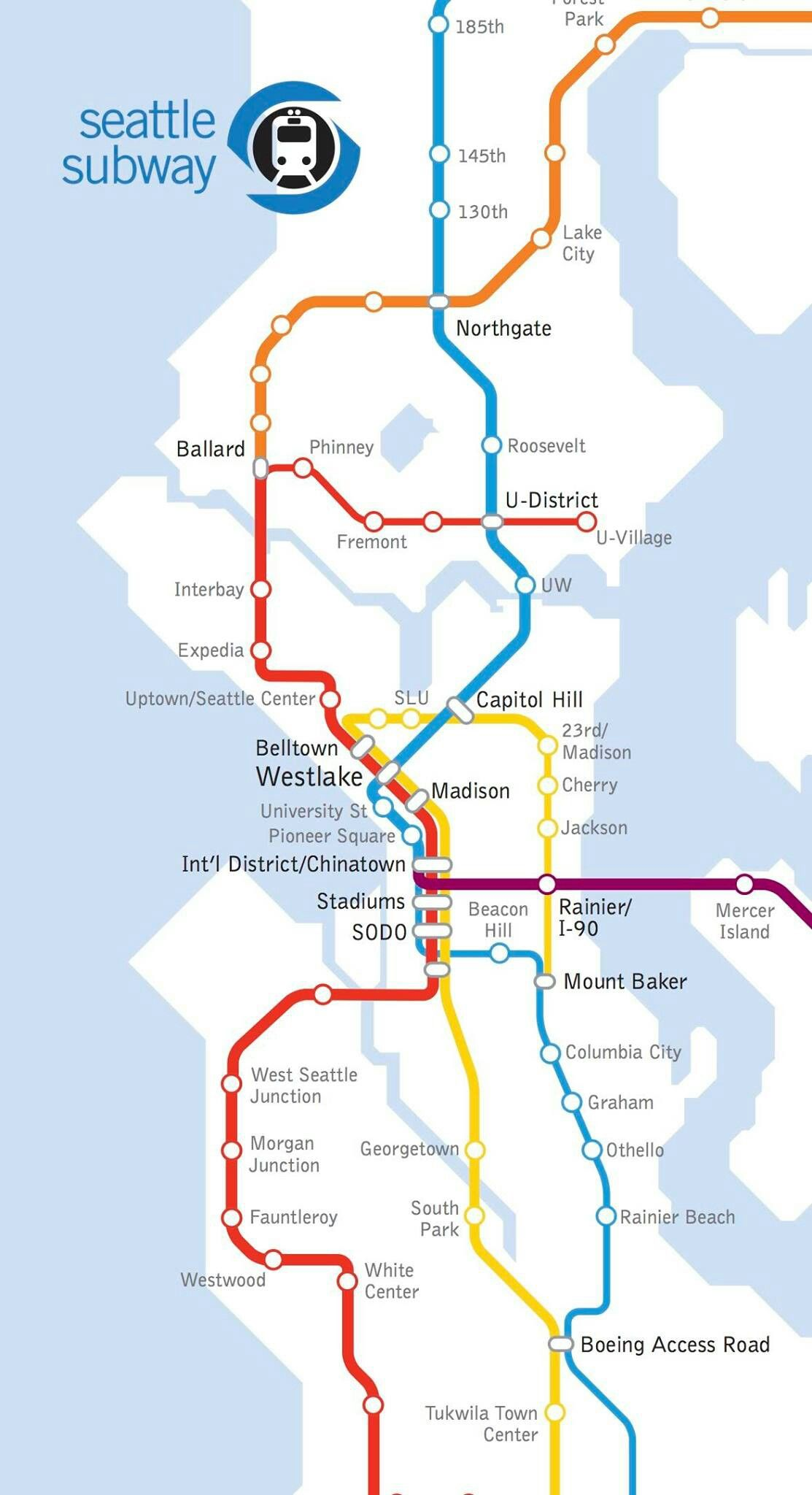 Seattle S Light Link Rail System In The Future Seattle Metro Area