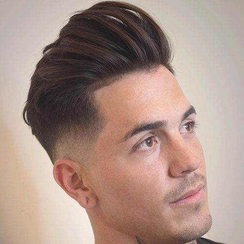 Mid Fade with Brushed Back Hair