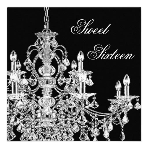 Black white chandelier sweet 16 party invite sixteen candles black white chandelier sweet 16 party invite aloadofball Choice Image