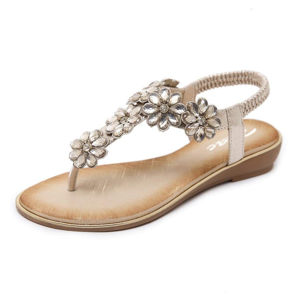 e7b57c7909e Zicac Women s Floral Rhinestone Thong Sandal Clip Toe Low Wedges Shoes  Summer Flat Sandals for Women   Do hope you do like the image.