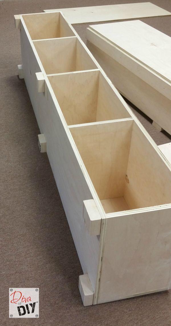Platform Bed with Storage Tutorial   Muebles madera, Vitrinas y Madera
