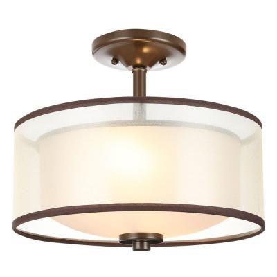 Hampton Bay Light Bronze SemiFlush Mount Light With Organza - Home depot bedroom lights