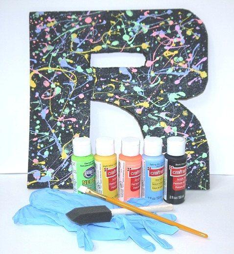 Splatter Painted Letter Art Kit by MentalBaggage on Etsy, $15.00