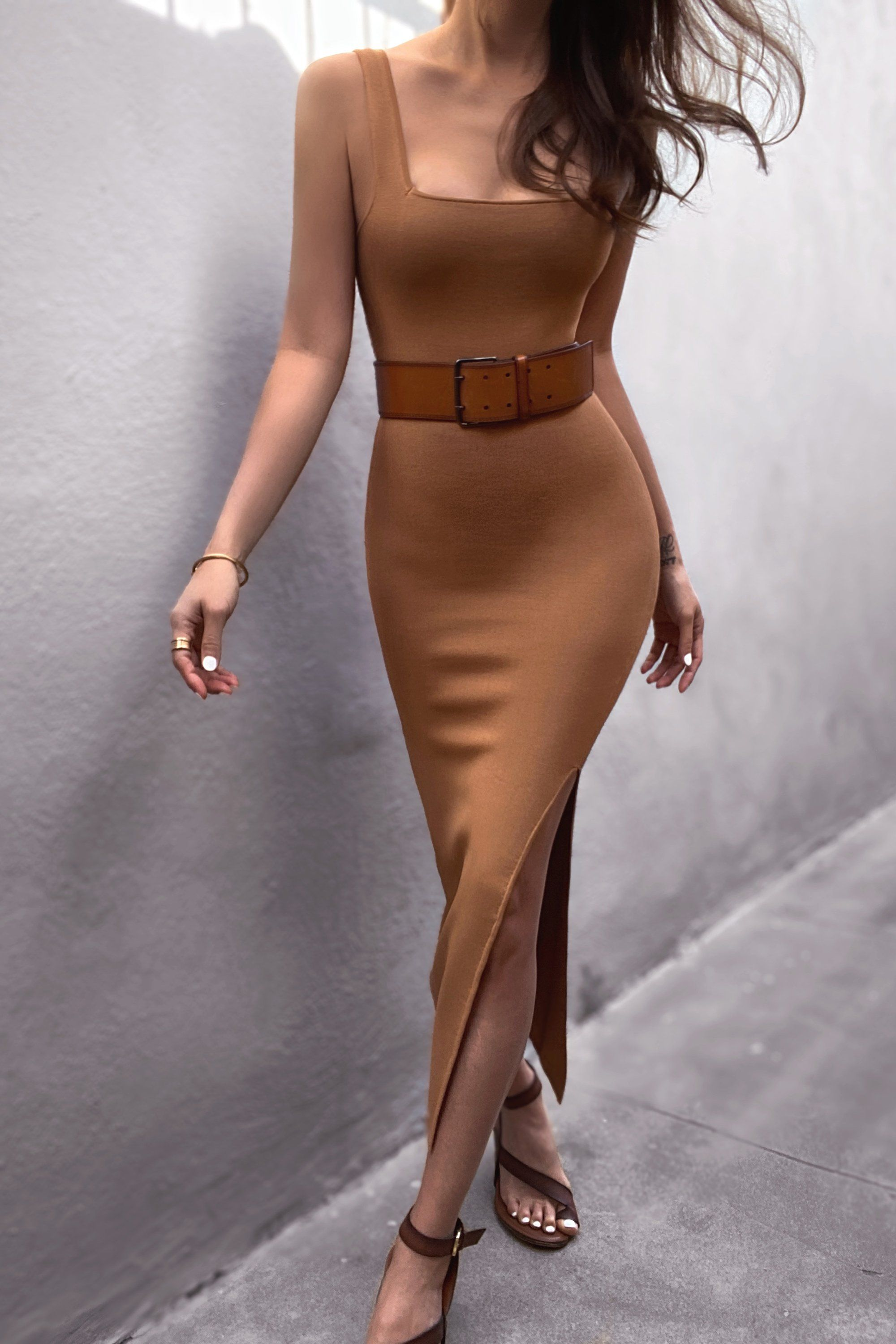 Basic Square Neck Midi Dress Tan In 2020 Fashion Inspo Outfits Fashion Outfits Girly Outfits [ 3000 x 2000 Pixel ]