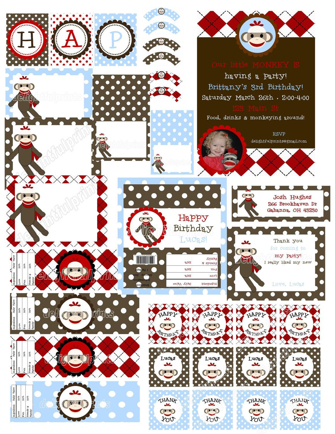Sock Monkey Party Printable Designs Complete Package No