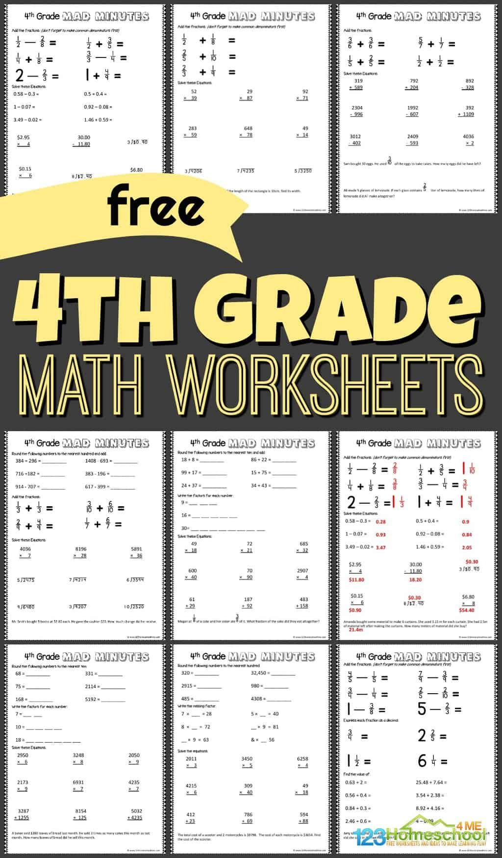 Free 4th Grade Math Worksheets In