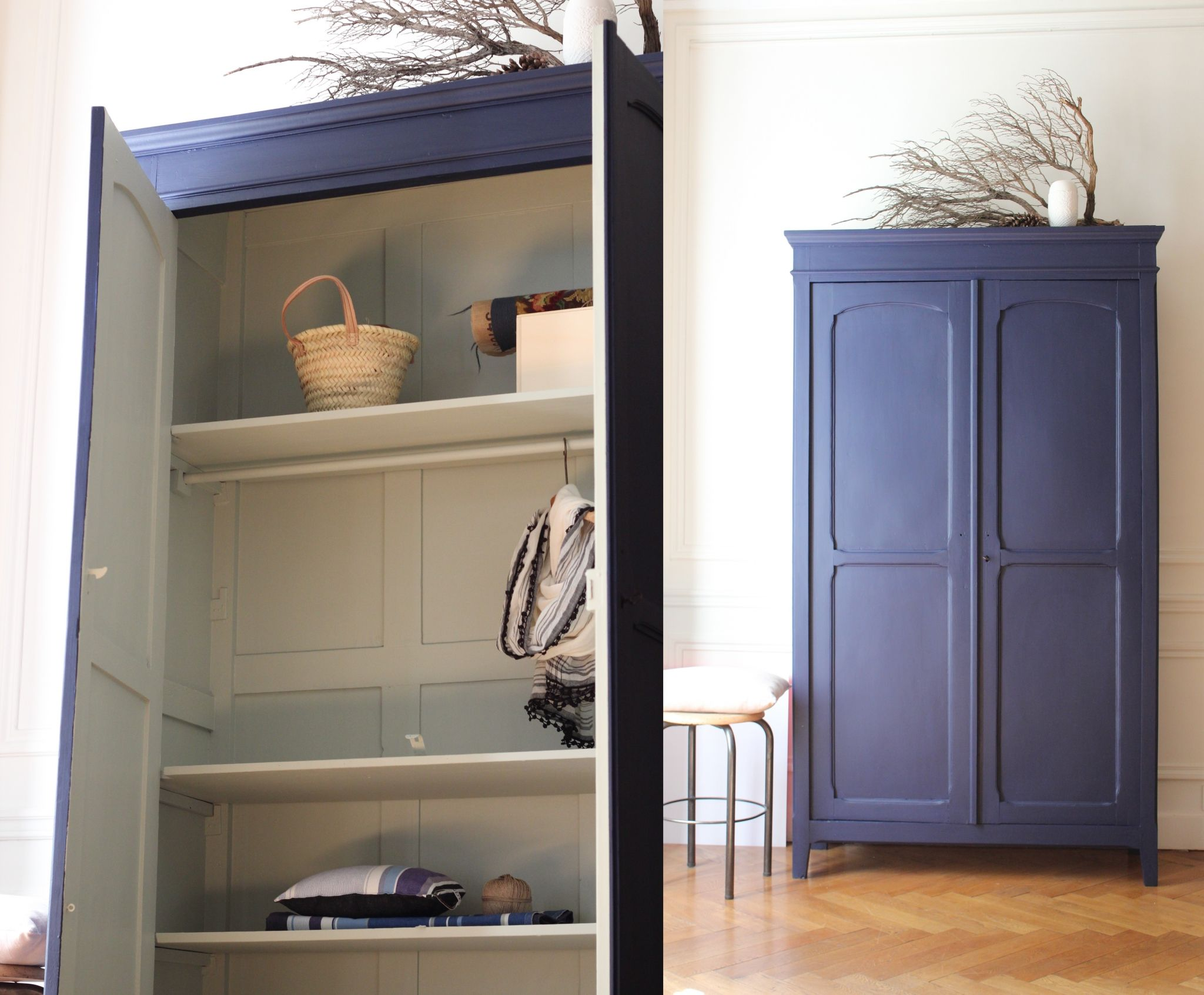 armoire penderie bleu nuit mobilier vintage d suet r tro trendy little 2 home armoire. Black Bedroom Furniture Sets. Home Design Ideas