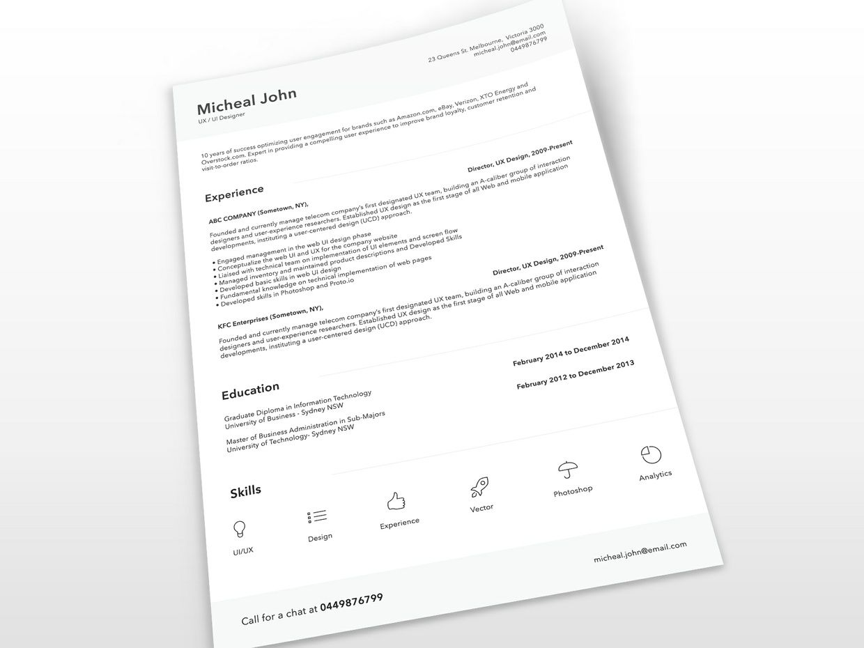 Free Clean Resume Template Psd  Free CvResume Template Psd