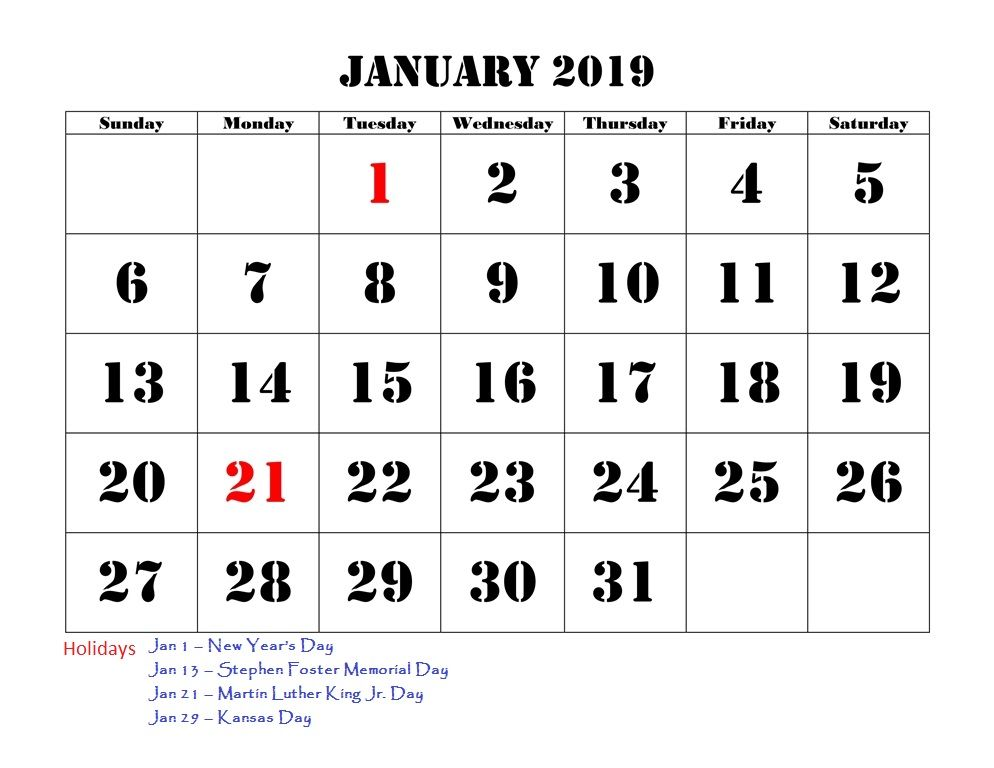 January 2019 Calendar With Bank Holidays #TemplatePrintable