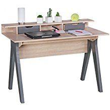 FineBuy bureau 120 cm Design Table de bureau Sonoma chne