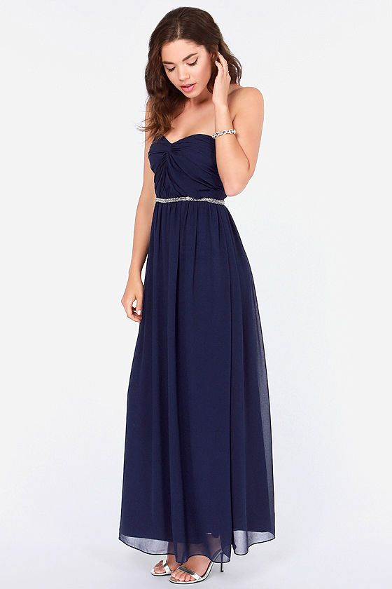 Your Twist is On My List Beaded Navy Blue Maxi Dress at LuLus.com!