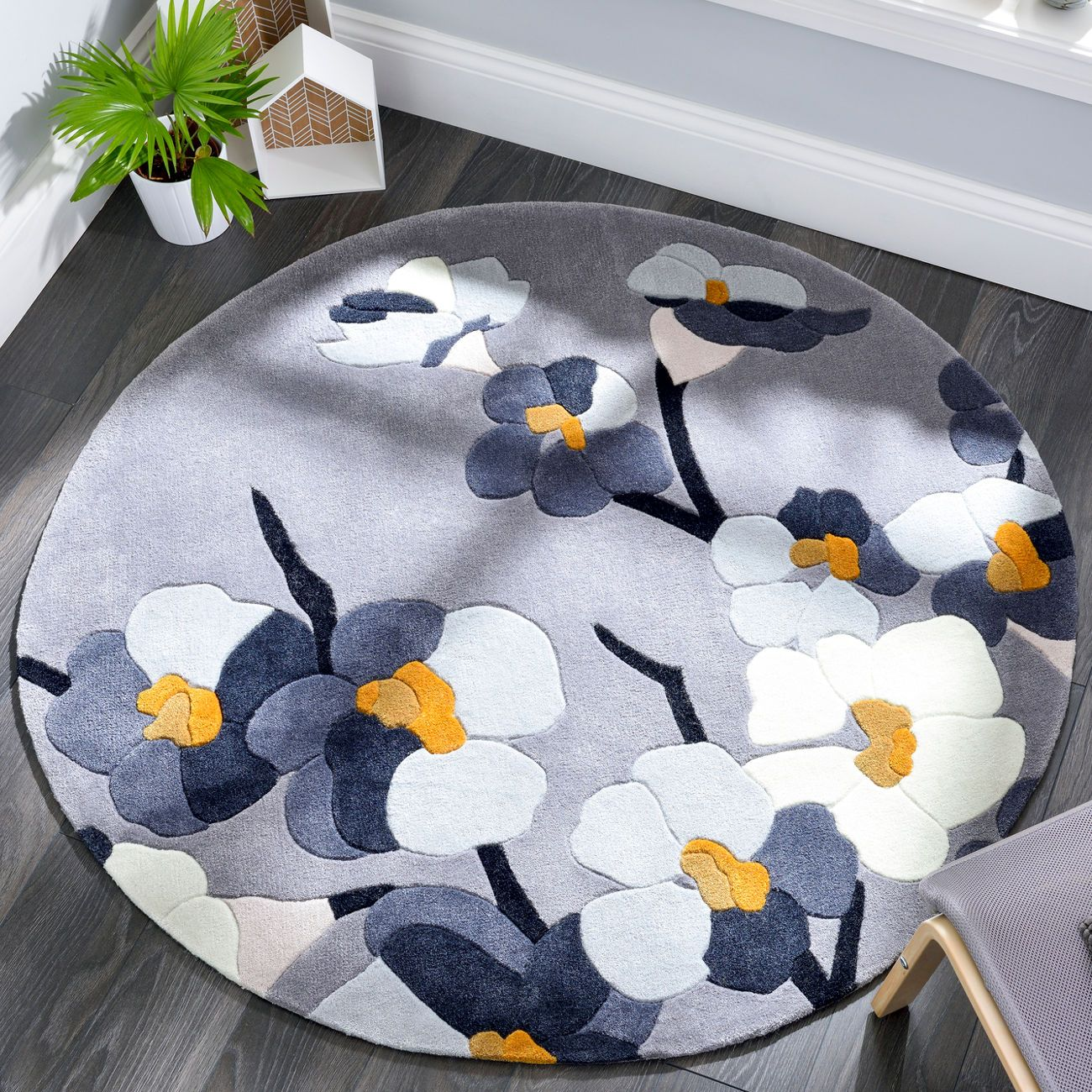 Flair Infinite Blossom Round Rug In Grey And Ochre Next Day Delivery
