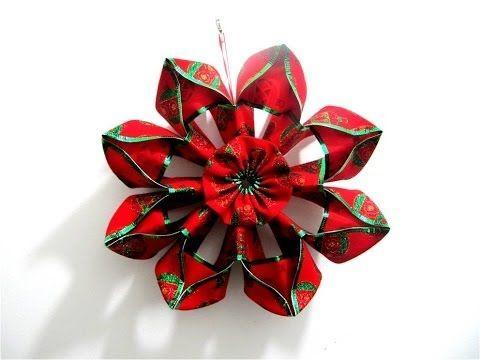 Moños Flores Navideñas En Cintas Christmas Flowers In Ribbons Bows Diy Lace Ribbon Flowers Ribbon Flower Tutorial Fabric Flowers