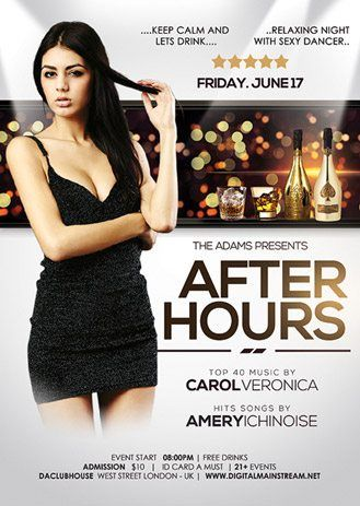 After Hours Party Nightclub Free PSD Flyer Template Club - party flyer template