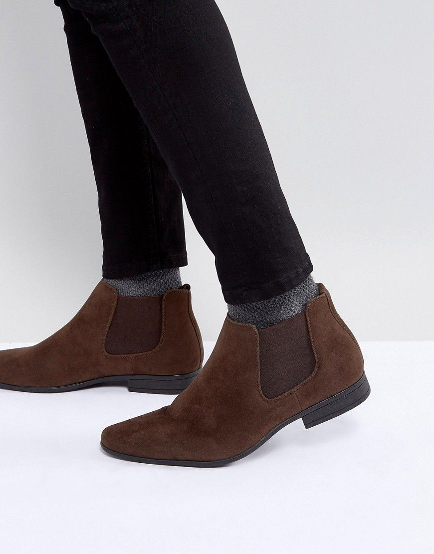 Faux Suede Chelsea Boots In Dark Brown