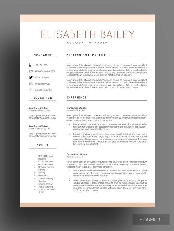Resume Template Cv Template Professional Resume Template Resume