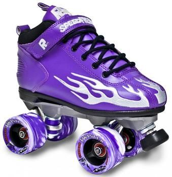 Sure Grip Rock Purple & Grey Flame Roller Derby Skates