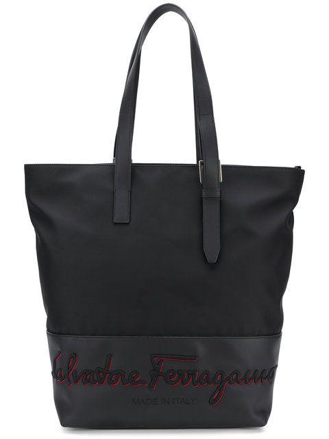 c44db0e9ae SALVATORE FERRAGAMO embroidered logo shoulder bag.  salvatoreferragamo  bags   shoulder bags  hand bags  nylon  leather  lining