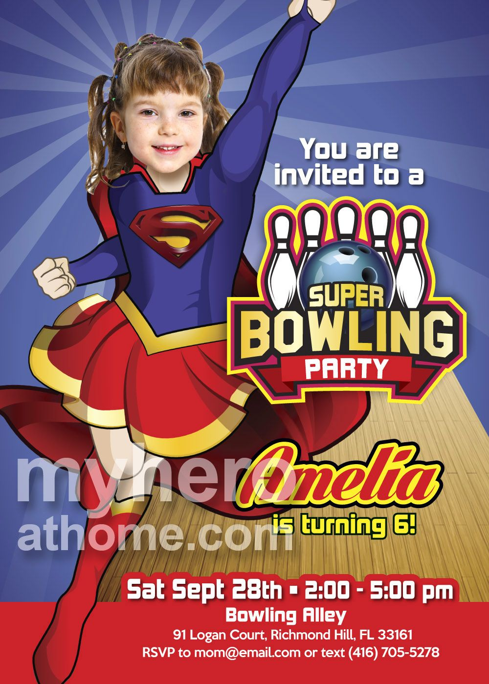 Bowling Party Supergirl Birthday Invitation With Your Girl As