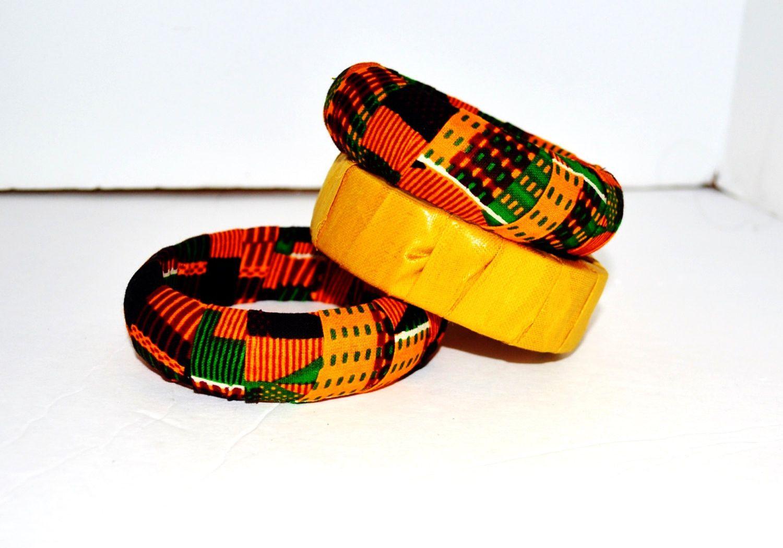 Kente African Wax Bangle -Statement Jewelry