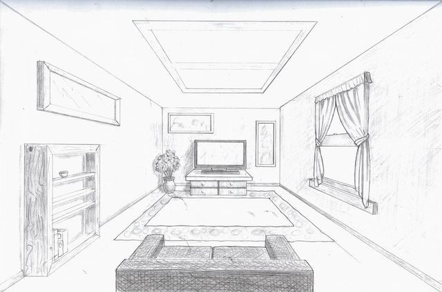 One Point Room Perspective Drawing One Perspective Drawing 1 Point Perspective