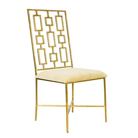 Gold leafed dining chair with beige velvet seat. Also available with black velvet seat.