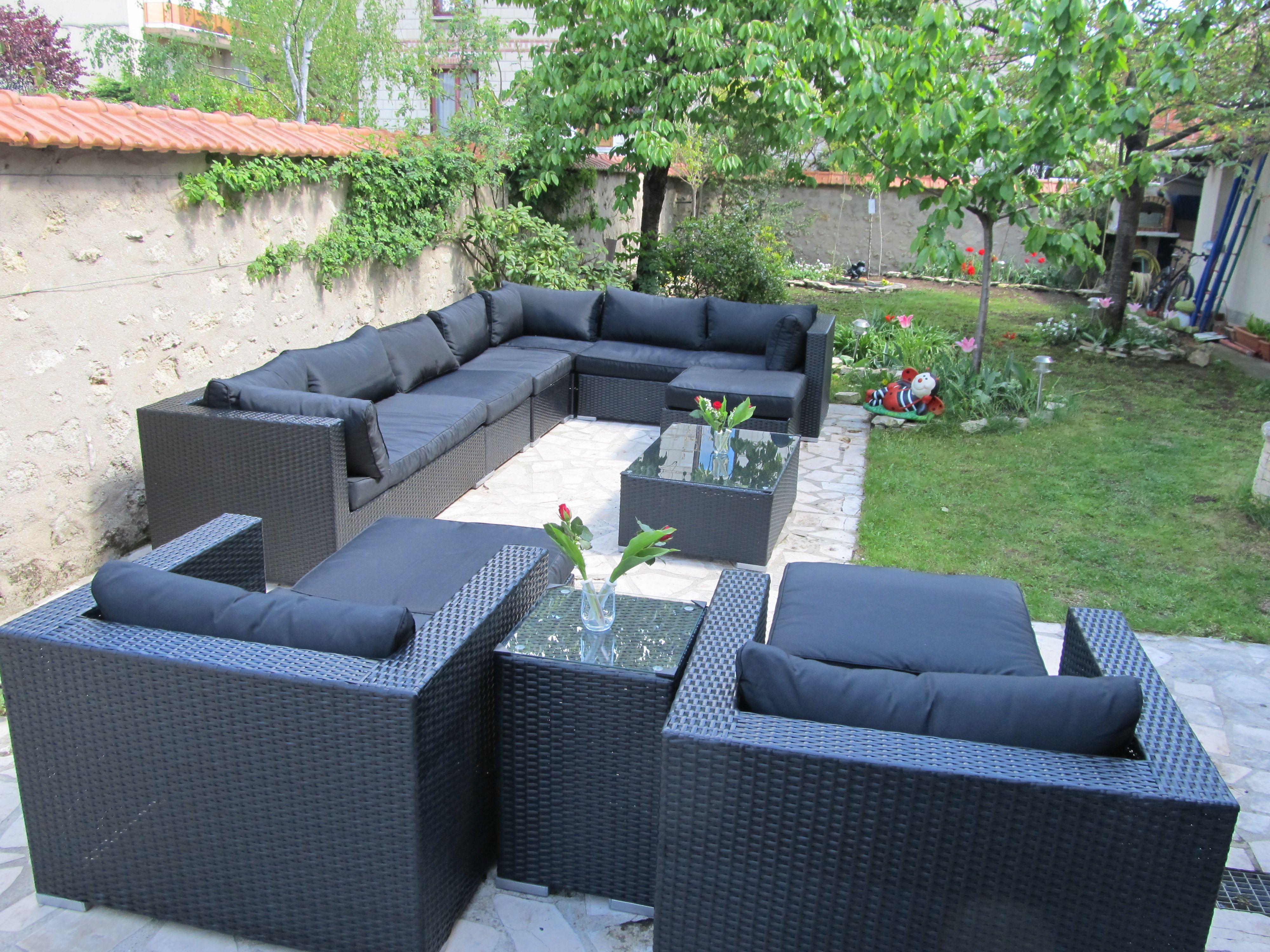 Salon de jardin 14 places en résine tressée canapé modulable Tripoli ...
