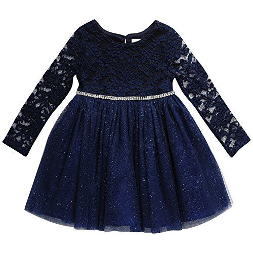 Youngland Baby Girls Long Sleeve Knit Lace Tutu Mesh Dress Http