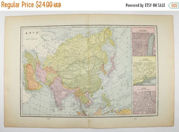 Vintage Asia Map Middle East Cyprus Map Crete 1900 Antique Map