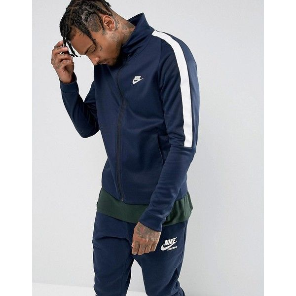 Nike Tribute Poly Track Jacket In Navy 861648-451 ( 89) ❤ liked on Polyvore  featuring men s fashion c918c0d2b
