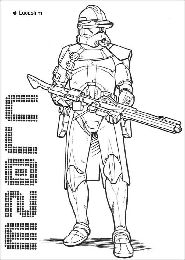 Emperor Clone Soldier With A Gun Coloring Page More Star Wars Sheets On Hellokids