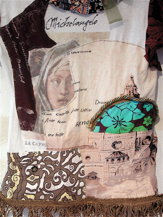 ITALIAN Tunic Wearable Collage Folk ART Upcycled & by mybonny