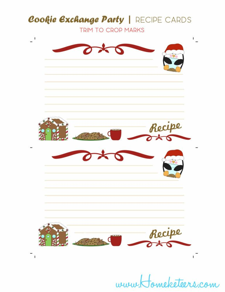 Christmas Cookie Exchange Printables Penguin Theme Free Pertaining To Cookie Exchange Recipe Ca Cookie Exchange Recipe Cards Template Cookie Exchange Recipes