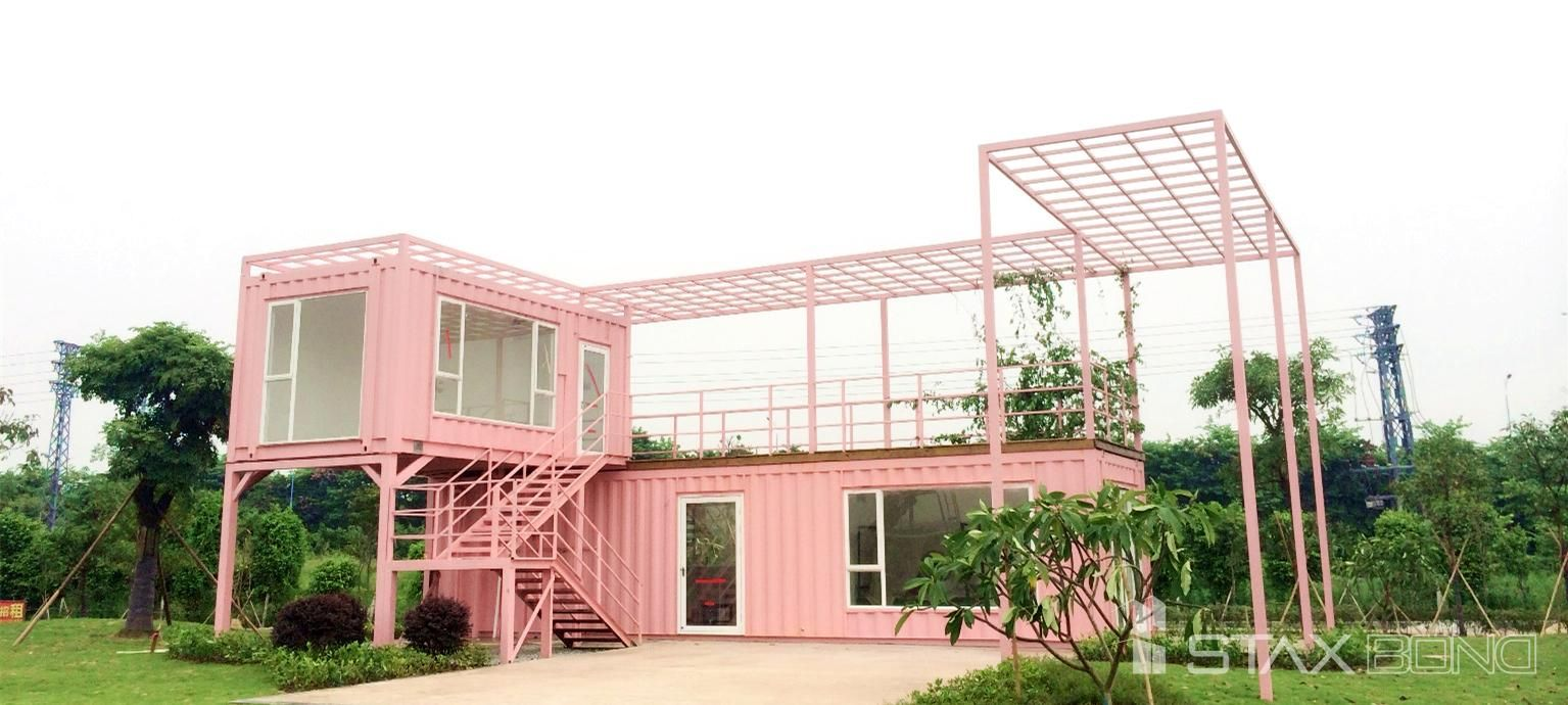 Pink villa staxbond modular house container home for Villa container