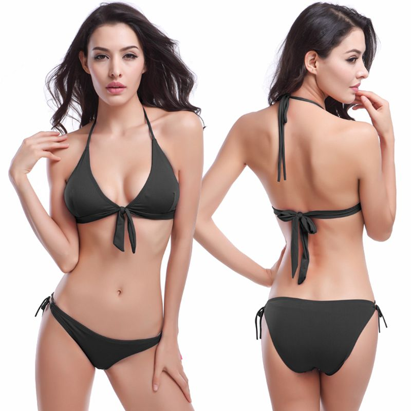 b83b72d65b Vintage Bowknotted Top Removable Padding 2017 Hot Sale Cheap Bandage Ties  Black Bikini for Women Free
