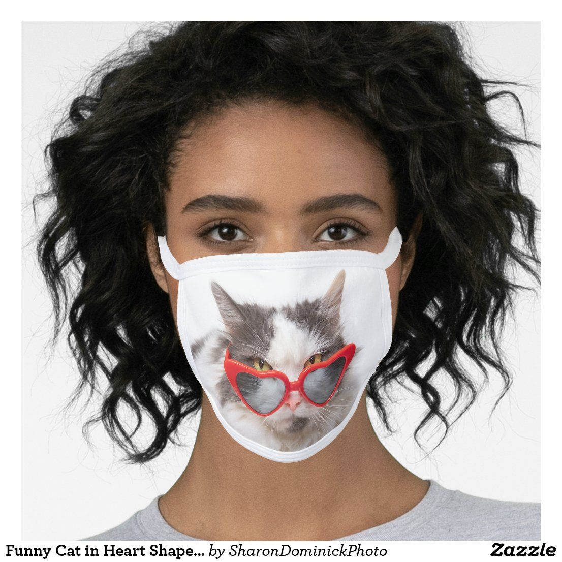 Funny Cat in Heart Shaped Glasses Face Mask
