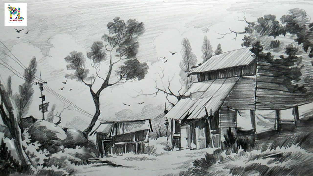 How to sketch and shade a landscape art with easy pencil strokes