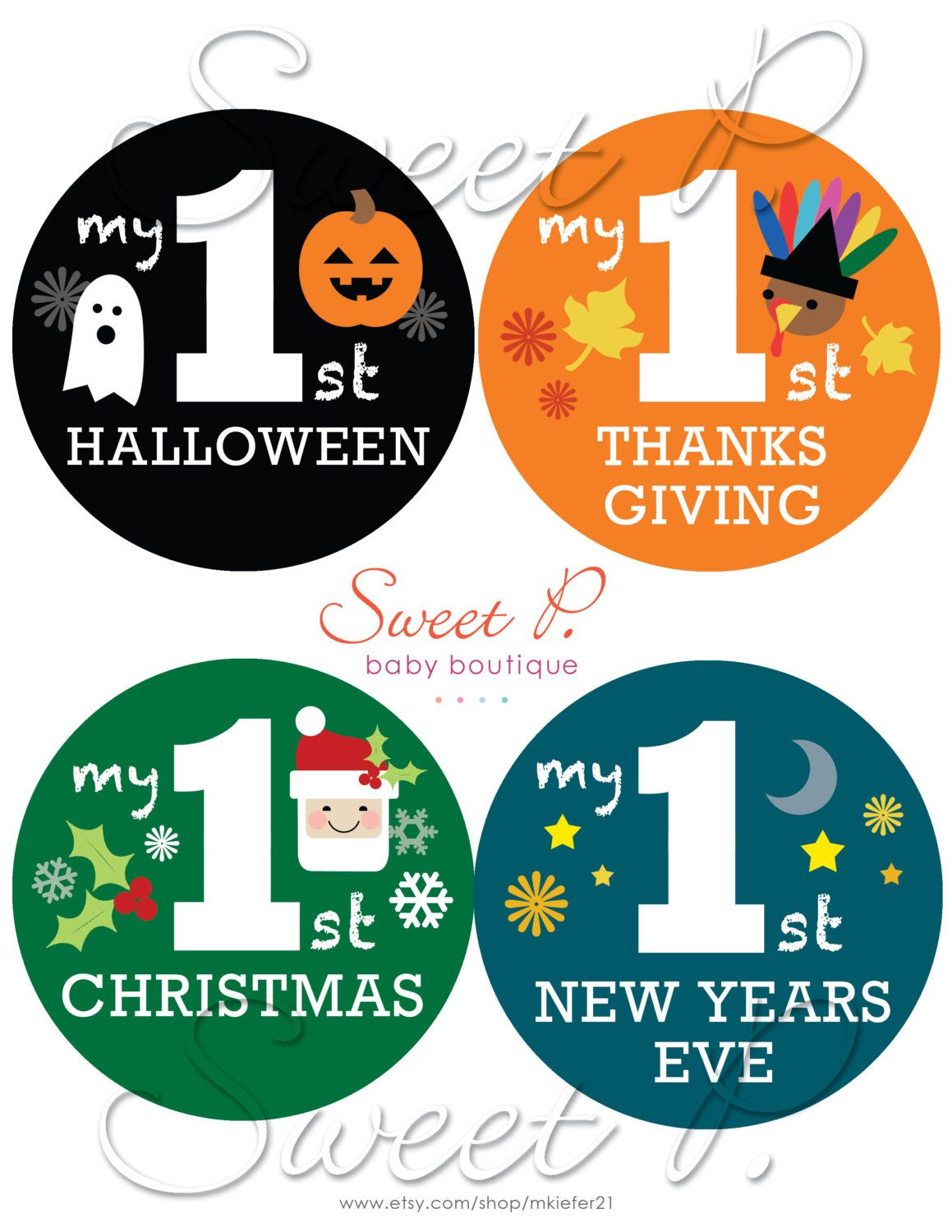 my babys first holiday stickers halloween by sweetpbabydesigns 600 custom set halloween thanksgiving xmas - Halloween Thanksgiving Christmas